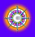 Compass sun illustration Royalty Free Stock Photo