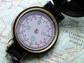 Compass on topo map 1 Stock Photos