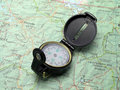 Compass on topo map 2 Royalty Free Stock Photo