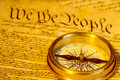 Compass and United States Constitution Royalty Free Stock Images