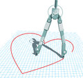 Compasses in love vector illustration of a pair of drawing a heart shape file type eps ai compatible Stock Image