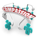 Compassion connected people showing sympathy empathy for each ot word on arrows connecting to show and helpful feelings toward Royalty Free Stock Image