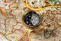 Compasso & Velho Mundo Fotos de Stock Royalty Free