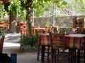 Compatible with the nature of samothraki island old cafes by sea and pristine examples in greece Royalty Free Stock Photos