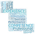 Competence professional comprence and experience word cloud Royalty Free Stock Photography