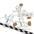 Competing business people fighting at finish line vector illustration of monochrome cartoon characters and racing each other the Royalty Free Stock Photography