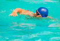 Competition in competitive swimming in the pool outdoors Stock Photos