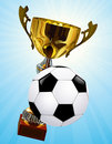 Competition cup and football ball Stock Photos