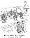 Competition has become hostile business cartoon showing ancient warriors in battle businessmen say as you can see the Royalty Free Stock Photography