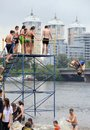Competition on kiev beach dnipro river ukraine Stock Photo