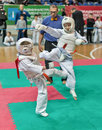 Competition on kyokushinkai karate. Royalty Free Stock Images