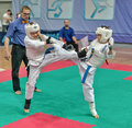 Competition on kyokushinkai karate. Royalty Free Stock Image