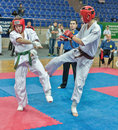 Competition on kyokushinkai karate. Royalty Free Stock Photography