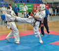 Competition on kyokushinkai karate. Royalty Free Stock Photos