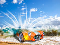 Competition man against nature a sport car cobra coupè submerged by dangerous ocean waves on hawaii maui famous big beach Stock Images