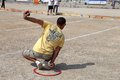 Competition of petanque in marseille france august man playing from back Stock Photos