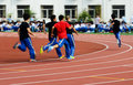 Competition the students are running a race in the school sports meet photoed on september th the high school attached to tianjin Royalty Free Stock Photos