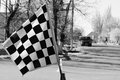 Competitions flag start finish black and white Royalty Free Stock Photo