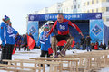 Competitions in jumps through sledge nadym russia march the nenets national sport on a traditional holiday day of the reindeer Stock Photos