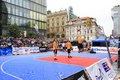 Competitions in street ball at the wenceslas square historic centre of prague Royalty Free Stock Images