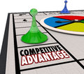 Competitive advantage board game piece moving forward winner words on a background and around to be the Stock Images