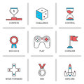 Competitive advantage line icons set flat of solution business gamification elements winning strategy ideas motivation and Royalty Free Stock Photo