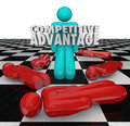 Competitive advantage people winner stands alone one person as the with words to illustrate superior qualities and characteristics Royalty Free Stock Images