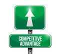 Competitive advantage road sign illustration design over white Royalty Free Stock Image