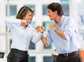 Competitive business couple Stock Photography