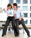 Competitive business couple Stock Photo