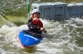 Competitor bedford bedfordshire england august in competition at bedford viking kayak club cardington slalom course Royalty Free Stock Photos