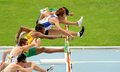 Competitors of 110 meters hurdles Royalty Free Stock Photo