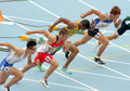Competitors on start of m men hurdles during the th world junior athletics championships at the olympic stadium july in Royalty Free Stock Photo