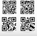 Compilation sample qr code ready to scan with smart phone Stock Photography