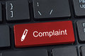 Complaint button keyboard with pen icon. Royalty Free Stock Photo