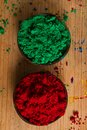 Complementary colours green and red in the colour wheel sit opposite one another the primary the secondary Stock Photography