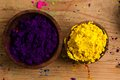 Complementary colours purple and yellow in the colour wheel sit opposite one another the primary the secondary violet Royalty Free Stock Image