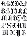 Complete alphabet in round serif characters uppercase set of letters vintage vector illustration isolated on white Royalty Free Stock Photo