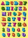 Complete alphabet set in colourful uppercase and numerals d font the colours of the rainbow for use as typographic design Royalty Free Stock Image