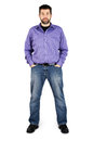 Complete body shot tall caucasian man jeans over white Royalty Free Stock Photos