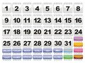 Complete calendar. Icons Set. Royalty Free Stock Image