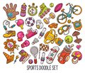 Hand drawn set of Sport doodles in colors vector-01