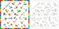 The complete kids english animal zoo alphabet with fun cartoon animals abc design in outline style outline Stock Photos