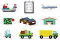 Complete logistic and transportation icon collecti Stock Image