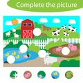Complete the puzzle and find the missing parts of the picture, farm fun education game for children, preschool worksheet activity Royalty Free Stock Photo