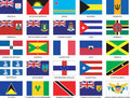Complete set of 25 Caribbean Flags Royalty Free Stock Photo