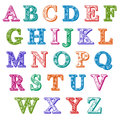 Complete set colorful patterned alphabet letters Royalty Free Stock Photo
