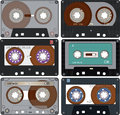 The complete set of the different audio cassettes a retro cartridges for record Royalty Free Stock Photos