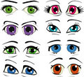 The complete set of the drawn eyes Stock Image