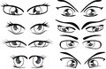 The complete set of the drawn eyes various doll Royalty Free Stock Photo